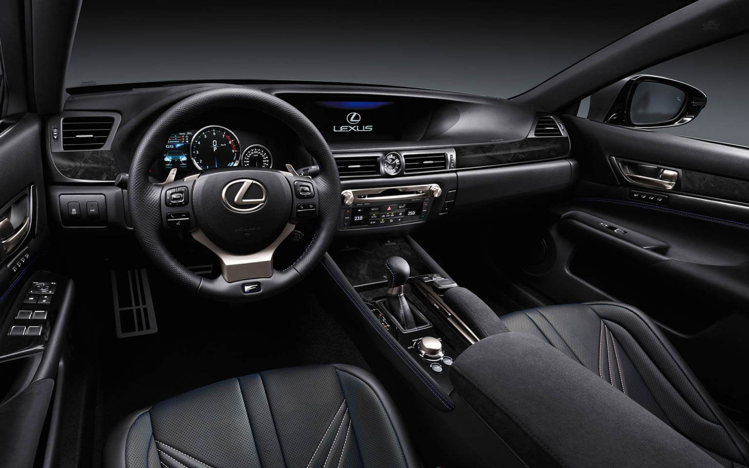 GS F shown in Black Leather with Carbon Composite Trim